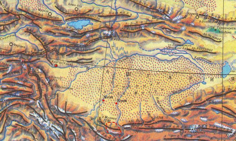 Схема Запада Центральной Азии (пунктиром - район путешествия). sceme.jpg:800x478, 115k.