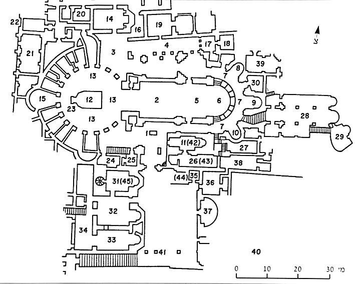 Схема современного строения Храма Гроба Господня.