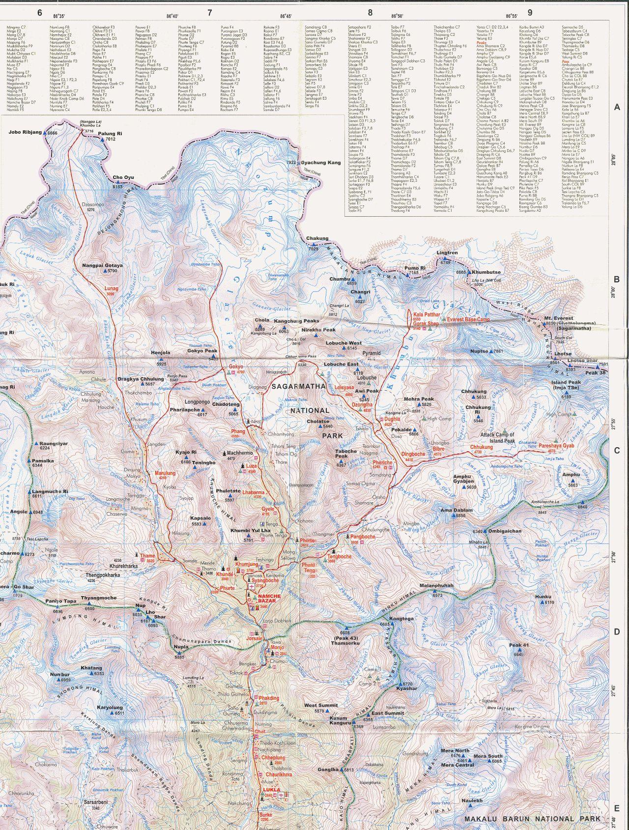 Фрагмент скана бумажной карты Национального парка Сагарматха,  масштаб 1:125000 (для увеличения надо 'открыть в новом окне')